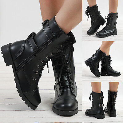 Womens Ladies Military Boots Zip Martin Ankle Lace-Up Flat Motorcycle Shoes Size