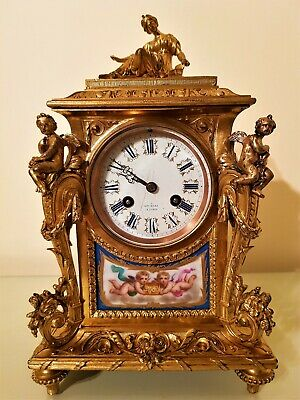 Antique French Ormolu & Porcelain Mantel Clock.