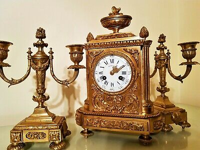 19Th Century French Ormolu Bronze Mantel Clock Garniture.