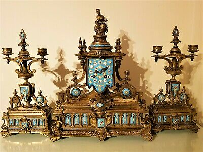 French Ormolu And Porcelain Mantel Clock Garniture.