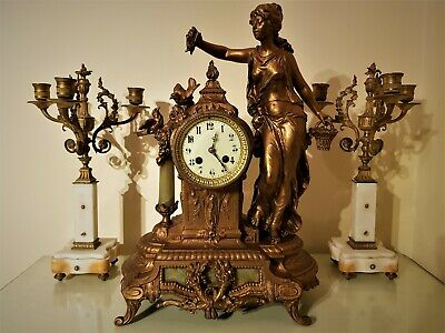 Large French Gilt & Onyx Figural Mantel Clock.