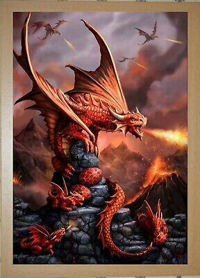 ANNE STOKES 3D DRAGON PICTURE 300mm x 400mm AGE OF DRAGONS ROCK DRAGON