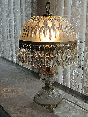 Rare Huge Vintage Genuine French Dome Crystal Glass Chandelier Brass Prism Lamp