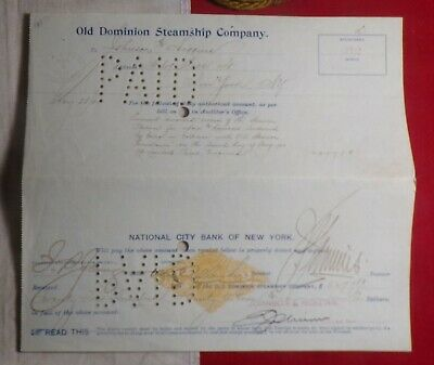1901 National City Bank Of New York Old Dominion Steamship Company Voucher