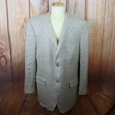 Canali Men's Sport Coat Size 46 L Silk Wool Blend Beige Plaid Two Button Long