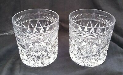 """Pair of FINE CUT GLASS CRYSTAL WHISKY TUMBLERS GLASSES 3 3/4"""""""