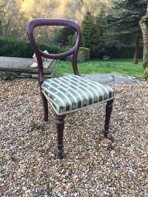 Victorian antique mahogany wooden dining chair upholstered in green