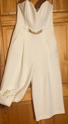 River Island White Jumpsuit Strappless Cropped Wide Leg Size UK10 Modern Ethnic