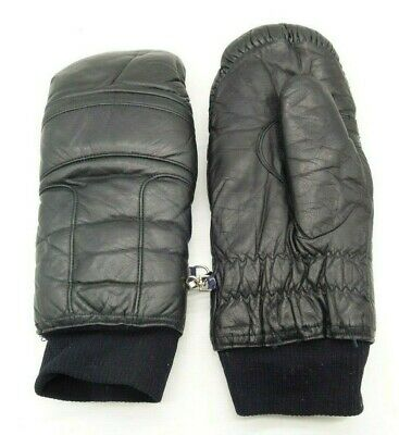 Conroy vintage Black leather skiing mittens gloves Women's Large