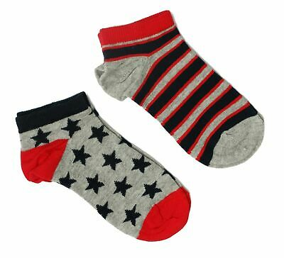 Kids Boys Girls Children Trainer Socks Cotton Rich School Red Star Ankle Liner