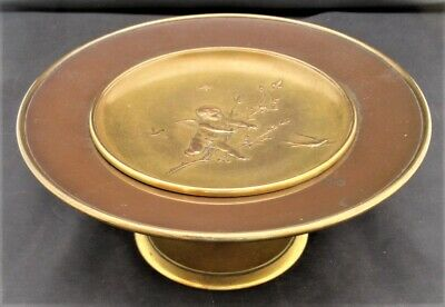 Antique gilt brass and bronze tazza, Japonisme, probably French, c1880
