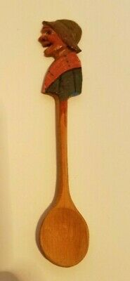 "NEW~VINTAGE HAND CARVED WOMAN ANRI FOLK ART WOOD SPOON-Made in Italy 5-1/2"" tall"