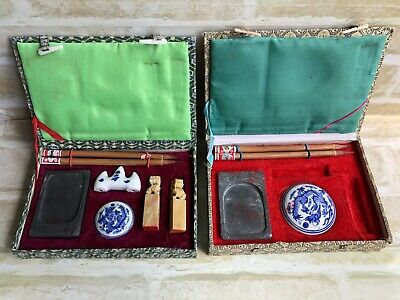 Traditional CHINESE Calligraphy Set Tools Ink Stone ~ Bamboo Pen Sticks