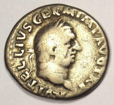 Ancient Roman Vitellius AR Denarius Coin 69 AD - VF Condition - Rare!