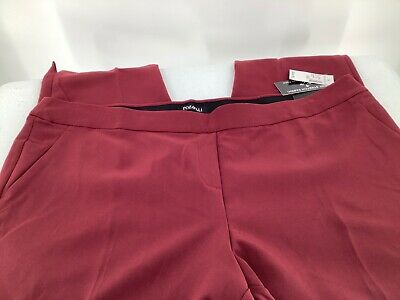 Roz & Ali Women 18W Pants Ankle Pull On Classic Fit Wine Color Slits New