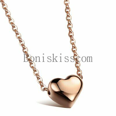 "Stainless Steel Polished Heart Charm Pendant Necklace 18/"" Chain Women Girls Gift"