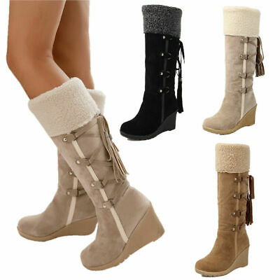 Women Ladies Wedge Platform Mid-Calf Fur Lined Boots Winter Warm Strappy Shoes