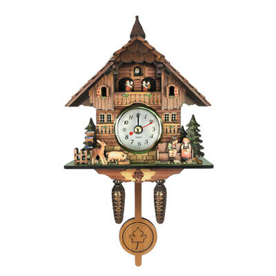 Wooden Cuckoo Clock Decorative Wall Clock with Quartz Movement Novelty Gifts J
