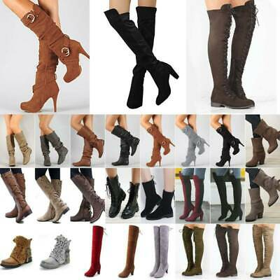 Women Thigh High Over The Knee Boots Long Stretch Party Lace Up Heels Shoes Size