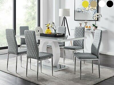 GIOVANI Grey White High Gloss Glass Dining Table Set & 6 Leather Chairs