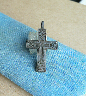 "RARE 15th CENT. HANDCARVED ORTHODOX OLD BELIEVERS BRONZE CROSS PSALM ""EXORCISM"""