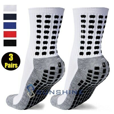 3 Pair Anti Slip Non Skid Slipper Hospital Socks with grips for Adults Men Women