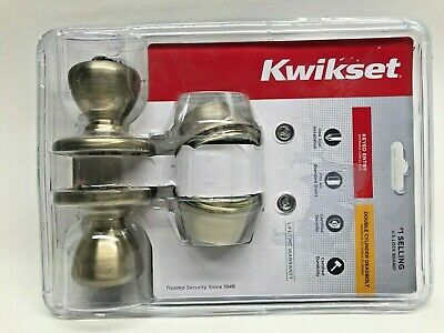 Kwikset Tylo Antique Brass Exterior Entry Door Knob and Double Cylinder lot 0060