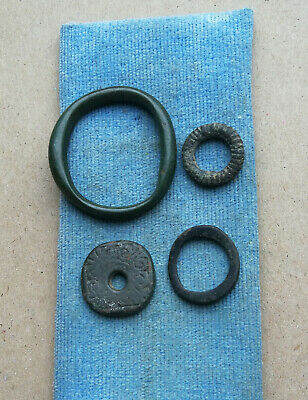 Lot of 4 Ancient Celtic Proto Money Bronze Rings Coins Circa 400 BC