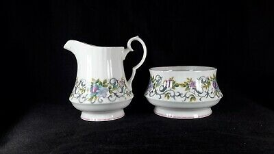 Vintage Royal Windsor fine bone china ' Trellis Rose ' sugar bowl & milk jug