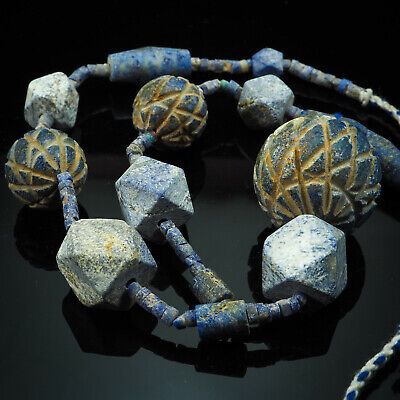 Ancient Bactrian Lapis Bead Mixed Heishi Hexagon Hatch Round Old Bead Necklace