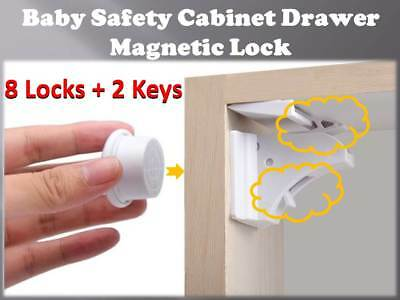 Invisible Magnetic Baby Child Cupboard Door Drawer Safety 8 LOCKS+2 KEYS