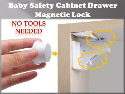 *Invisible* Magnetic Baby Child Pet Proof Cupboard Door Drawer Safety Lock Catch