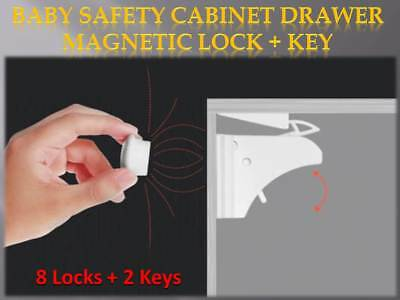 New Magnetic Baby Safety Lock Child Kids Pet Proof Cupboard Cabinet Drawer Home