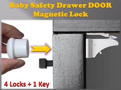 Invisible Magnetic Baby Safety Locks Child/Pet Proof Cabinet Door Drawers Kit