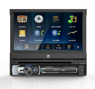 "Dual 7"" Retractable Touchscreen Bluetooth Car Stereo Multimedia DVD Receiver"