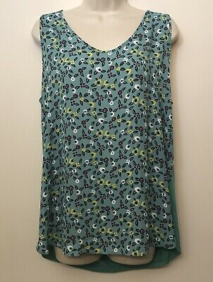 NWT LOFT Tank Top Large Teal Green Floral V-Neck Wide Strap Sleeveless Tunic