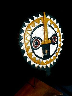 Mask African Carved Wood Tribal Wall Hand Vintage Art Wooden  Sun mask 1303