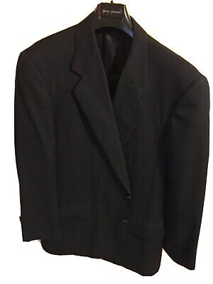 Mens 44 R Hickey Freeman Blue/Black Wool Pin Dot Suit Pleated Front 40x26