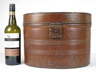 An oval Victorian toleware travelling / hat box. Film prop