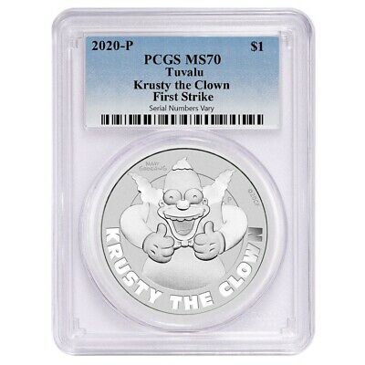 Sale Price - 2020 1 oz Tuvalu Krusty The Clown Silver Coin PCGS MS 70 FS