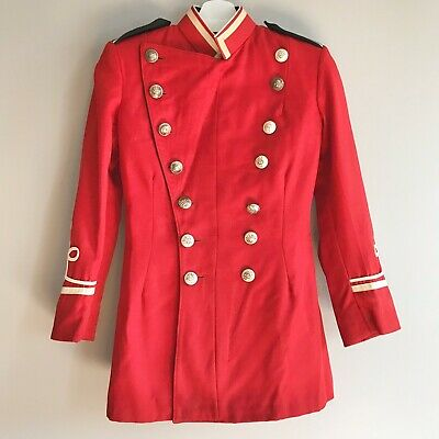 Vintage marching band jacket uniform school red double breasted brass button