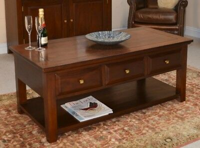 3 Drawer Solid Mahogany Coffee Table H50 x W120 x D60cm Beautiful Wooden Top
