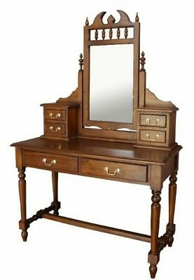 NEW Antique Solid Mahogany Reproduction Gothic Style Dressing Table + Mirror