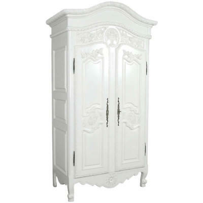 Antique White Mahogany French Style Heavily Carved 2 Door Armoire H201 W97 D55cm