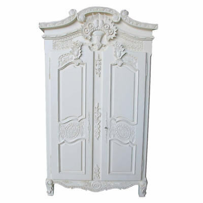 Antique White Mahogany French Style Free Standing 2 Door Armoire H200 W110 D60cm