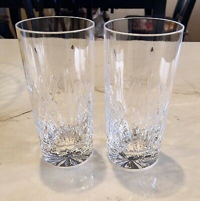 Waterford Crystal Brookside Straight Sided Highball Tumbler Glasses Set Of 2