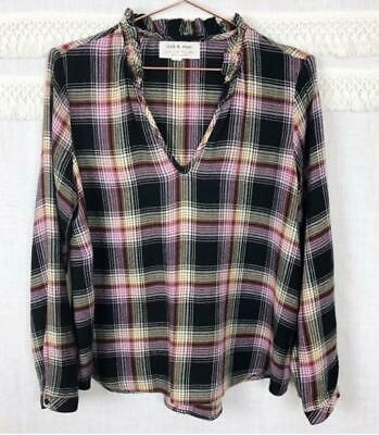 Anthropologie Cloth & Stone Size XL Plaid Blouse Top Multicolor Ruffled Neck New