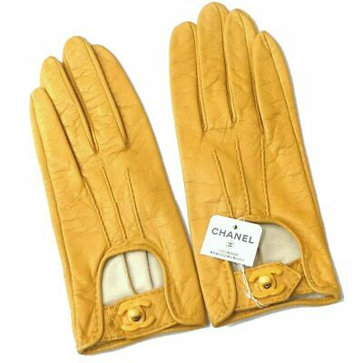 Auth CHANEL Lambskin Coco Mark Women Gloves 7.5 Yellow Excellent H1051
