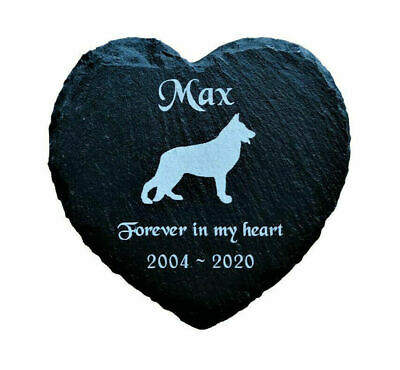Personalised Slate Heart Pet Memorial Grave Marker Plaque for ANY Breed of Dog