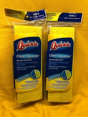"""2 ~ QUICKIE Automatic Sponge Mop Refill Type S Fits Model # 045 3/"""" x 9/"""" 0442 NEW"""